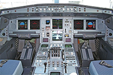 The cockpit of an A340 Airbus airliner