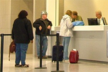 An airport ticket counter
