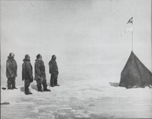 Roald Amundsen, Helmer Hanssen, Sverre Hassel, and Oscar Wisting at the South Pole
