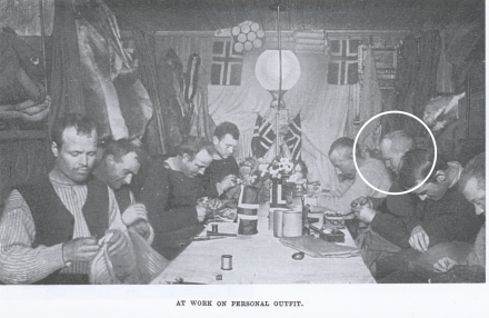 Amundsen's team working on personal kit during the winter before the trip South to the Pole