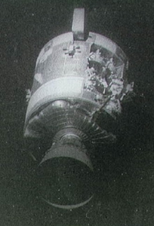 The damaged Apollo 13 Service Module, as seen from the command module