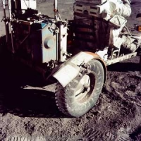 The Apollo 17 Lunar Rover, showing its damaged fender