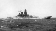 The Japanese battleship Yamato during machinery trials 20 October 1941