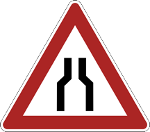 Bottleneck road sign