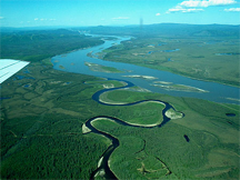 Aerial view of the Charley River at its confluence with the Yukon