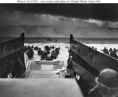 U.S. Army troops wade ashore during the Normandy landings