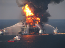 Platform supply vessels battle the fire that was consuming remnants of the Deepwater Horizon oilrig in April 2010