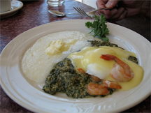 Eggs Sardou at Lucile's: poached eggs, creamed spinach, gulf shrimp, grits