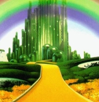 Approaching the Emerald City from the Yellow Brick Road