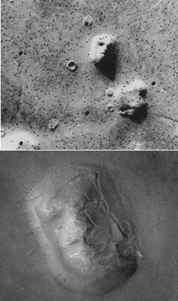 "The ""Face on Mars"" as seen by Viking 1 in 1976, compared to the MGS image taken in 2001"