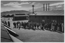 Mess line, noon, Manzanar Relocation Center, California, 1943