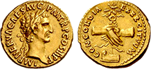 A Roman coin from the reign of Marcus Cocceius Nerva
