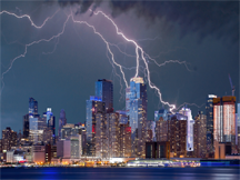 A lightning storm over New York City