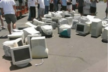 Computer monitors being recycled by the Nevada Division of Environmental Protection