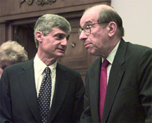 U.S. Secretary of the Treasury Robert Rubin (left) with Federal Reserve Board Chairman Alan Greenspan