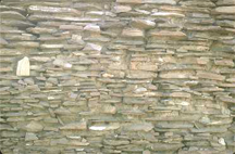 A section of stone wall at Pueblo Bonito