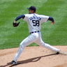 Armando Galarraga, pitcher for the Detroit Tigers baseball team, pitching on July 25, 2010