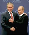 Bush and Putin hug
