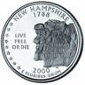The obverse of the U.S. quarter dollar coin issued in 2000, honoring the state of New Hampsire