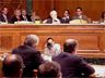 A hearing in the U.S. Senate, in which Defense Secretary Donald Rumsfeld is responding to questions about appropriations.