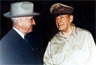 President Harry S. Truman, and Gen. Douglas MacArthur, meeting at Wake Island, 14 October 1950