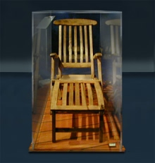 An actual deck chair recovered from the sunken liner Titanic