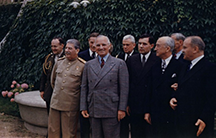 Harry S. Truman (front, second from left) and Joseph Stalin (front, left) meeting at the Potsdam Conference on July 18, 1945