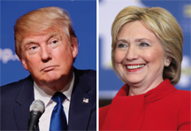 Donald Trump (left) and Hillary Clinton (right), candidates for U.S. President in 2016