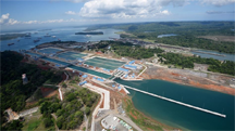 The Agua Clara Locks of the New Panama Canal, showing their guide walls