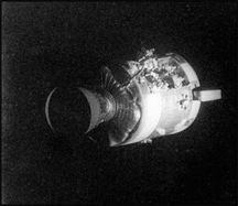 A view of the damage to the Apollo 13 Service Module