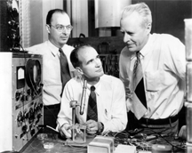 John Bardeen, William Shockley and Walter Brattain, the inventors of the transistor, 1948