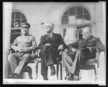 Stalin, Roosevelt and Churchill on the portico of the Soviet Embassy at the Teheran Conference