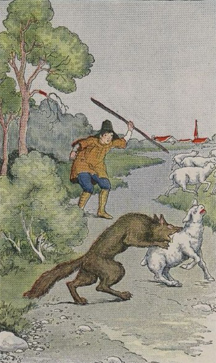 The Boy Who Cried Wolf, illustrated by Milo Winter in a 1919 Aesop anthology