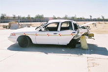 A wrecked automobile