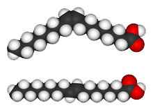 The molecular structure of Oleic Acid (a cis fat, top), and Elaidic Acid (a trans fat, bottom)
