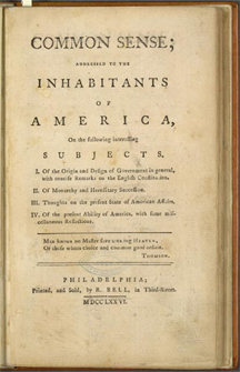 The first page of Thomas Paine's pamphlet Common Sense