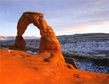 Delicate Arch, a 60-foot tall (18 m) freestanding natural arch