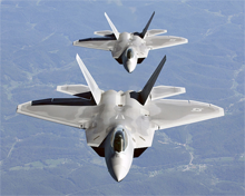 Two F-22A raptors line up for refueling