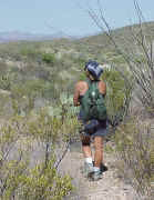 A hiker in the La Primavera caldera