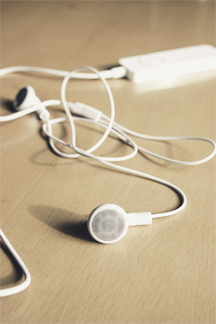 An iPod with earphones