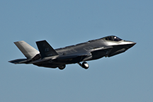 The U.S. F-35 Lightning II joint strike fighter lifts off for its first training sortie March 6, 2012, at Eglin Air Force Base, Florida