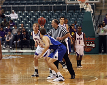 Jump ball in a game of basketball