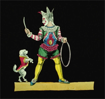 Magic Lantern Slide of a dog jumping through a hoop