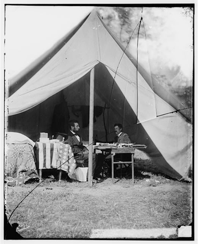 President Lincoln and Gen. George B. McClellan in the general's tent