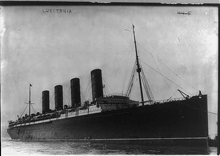 R.M.S. Lusitania coming into port, possibly in New York.