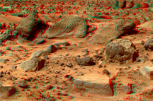 A view of the site known as the Rock Garden, on Mars