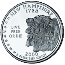 The reverse side of the U.S. quarter dollar coin issued in 2000, honoring the state of New Hampsire
