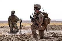 U.S. Marine Corps Capt. Bob J. Sise provides security during Operation Northern Lion