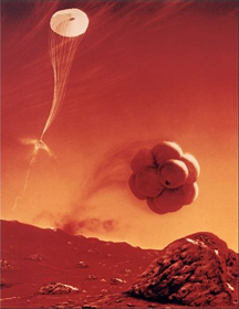 Artist's conception of the Mars Pathfinder landing by bouncing on its airbags