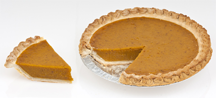 A pumpkin pie in the midst of being divided